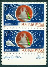 1965 Space Photos,Space researches,Gemini 5,Satellite,Romania,MNH,variety ERROR