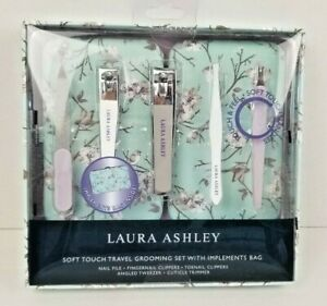 Laura Ashley Soft Touch-Travel Grooming Set With Implements Bag New