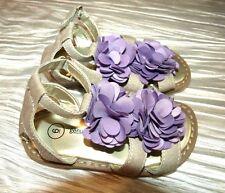 Euc Geniune Kids By Oshkosh Toddler Purple Flower Sandals,Leather/Canvas,S. 6 M