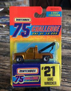 Matchbox Superfast #21 GMC Wrecker Tow Truck Gold Challenge on card 1/ 10,000