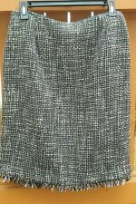 Requirements Size 8P  Black & White Wool Blend Lined Frayed Hemline Skirt