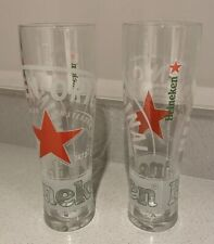 Rare Gold Star 2 x Heineken Pint Glasses 20oz Genuine Official Brand New