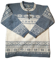 Squaw Valley 100% Wool Henley Style Nordic Sweater Women's Size M