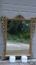 EARLY 20c ITALIAN GILTWOOD BAROQUE DECORATIVE PIERCED & CARVED CROWN MIRROR