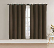"Single Blackout Window Curtain Panel: Chocolate Brown, Silver Grommets 52""Wx63""L"
