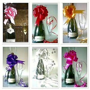 💜Large Clear Cellophane Wine Champagne Bottle Bags, Bows, Ideal Gift Wrap Bags