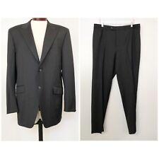 Basile Mens Suit 2 Piece Black Wool Super 120s 44L 36W 2 Button Double Vent
