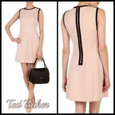 NWT TED BAKER pale blush pink black A-line fit flare skater dress sz 2 - 10 8 AU