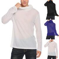 INCERUN Mens See Through Clubwear Shirt Top Long Sleeve Crew Neck Mesh T-shirt