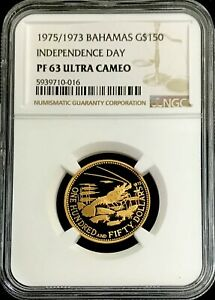 """1975 GOLD BAHAMAS $150 """"SPINY LOBSTER"""" NGC PROOF 63 ULTRA CAMEO 2,770 MINTED"""