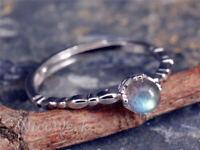 Silberring Mondstein Kugel Mit stein Blau Glatt Dezent Ring Silber 925