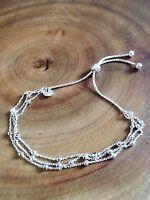 925 Sterling Silver Adjustable Beaded Slider Bracelet