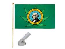 New listing 5' Wood Flag Pole Kit W/ Nylon White Bracket 3x5 Washington Weed Leaf Poly Flag
