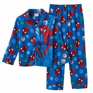 Christmas Pajamas SPIDERMAN Boys Size 6-8 Superhero Winter Shirt/Pants Set M NEW