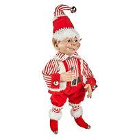 "RAZ Imports 16"" Posable Red Stripe Fat Shelf Elf Retro Vntg Christmas Doll Decor"