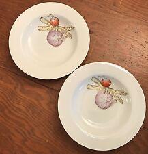 2 Potager Fitz & Floyd White Rim Soup Bowls Vegetables Radish Asparagus Onion