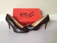 "Rosina Ferragamo ""RITA"" Spain Brown Leather Pump Pointed Toe High Heel Shoes NEW"