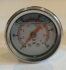 "Y379W 100 PSI 7 Bar Liquid Filled pressure gauge water oil gas 1.5"" 1/8"" White"
