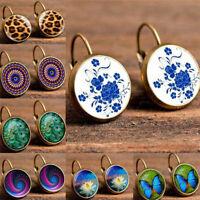 Hot Sale Elegant Round Stud Ear Vintage Women Girls Blue Butterfly Earrings