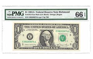 """1981A $1 RICHMOND """" MULE """" FRN, PMG GEM UNCIRCULATED 66 EPQ BANKNOTE"""