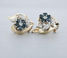 Vintage 14K Yellow Gold Sapphire Diamond Earrings – 1 5/8 CTW