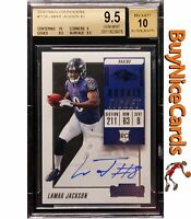 2018 Lamar Jackson Panini Contenders Rookie Ticket Auto SP RC #112A BGS 9.5 / 10