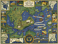 1921 Map Portland Maine and Surroundings School Map Wall Poster Vintage History