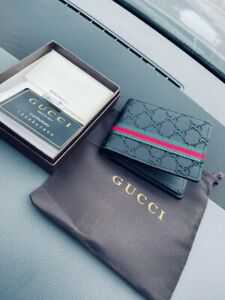 Luxury Gucci Fashions Money Genuine Leather Black Wallet Gift Men box