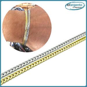 bracciale da uomo in acciaio inox a maglia piatte catena gourmette braccialetto