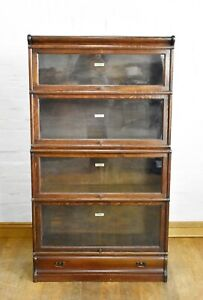Antique vintage GLOBE WERNICKE Oak stacking sectional glazed bookcase