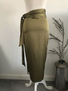 Worn Once Never Fully Dressed Jaspre Wrap Satin Midi Skirt Olive Khaki Green S/M