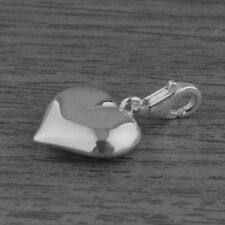 Genuine 925 Sterling Silver 3D Puffed Heart Pendant / Bracelet Charm Clip On