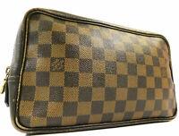 Louis Vuitton Damier Trousse Toilette Clutch Hand Bag Wallet Purse Pouch