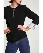 Zara Contrasting Top Blouse With Zip And Cuffs XS