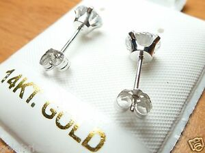 14kt PURE SOLID WHITE GOLD 6MM CUBIC ZIRCONIA SCREW BACK EARRING & BACK