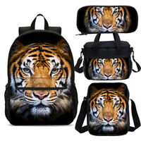 Tiger Student Backpack School Insulated Lunch Box Messenger Bags Pencil Case Lot