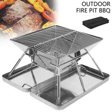 New listing Fire Pit Camping BBQ Stove BBQ Grill Smoker Outdoor Portable Stainless Steel=