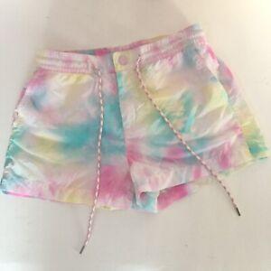 Womens American Eagle Tie Dye Shorts XS Pastel white pink blue