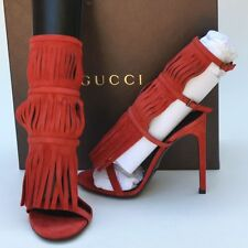 GUCCI New sz 36.5 - 6.5 Womens Designer Gladiator Heels Shoes Sandals Red Becky