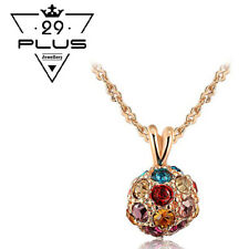 Antique 18K Rose Gold Filled Vintage Multi-Color Crystal Ball Pendant Necklace