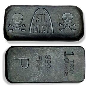 St Louis Mint Blackbeard's Booty Pirate Black 1 oz .999 Poured Silver Bar STL