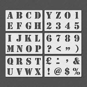 Letter Stencil Set Alphabet Number Plastic Mylar Vintage Military - 25mm - 100mm