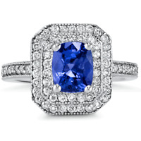 Certified Ceylon Blue Sapphire 1.67ct 14KT White Gold w/ 0.66cttw Diamond Ring