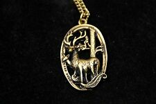 Antique Deer in the Woods Charm Long Necklace Gold Brass Vintage