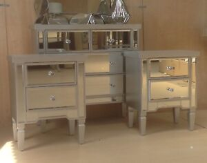 Valetta Mirrored Furniture package deal 4 drawer chest plus pair of bedsides