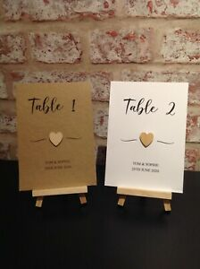 Personalised Wedding Table Numbers/Name Cards with Wooden Heart
