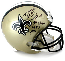 "Drew Brees Autographed/Signed New Orleans Saints Full Size Helmet ""54 Straight"""