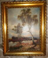 Antique  German Impressionist Landscape Oil Painting on Board SIGNED DATED 1932