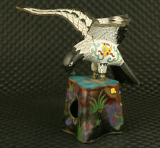 rare chinese old cloisonne hand painting eagle statue noble home decoration