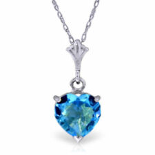 Genuine Blue Topaz Heart Gemstone Pendant Necklace 14K. Yellow, White, Rose Gold